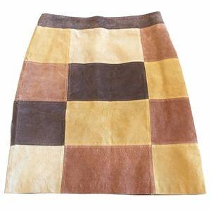 Blue Asphalt Suede Patchwork Skirt